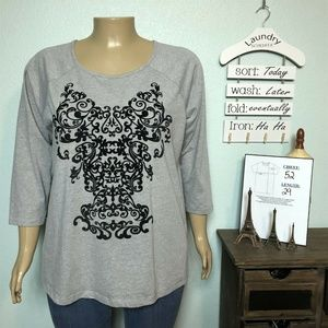 Woman Within Gray Floral Scroll Shirt T-shirt Top
